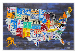 Poster  License Plate Map of the United States on Blue Wood Planks - Design Turnpike