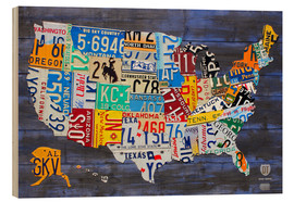 Legno  License Plate Map of the United States on Blue Wood Planks - Design Turnpike