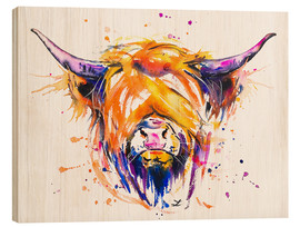 Stampa su legno  Scottish Highland Cow - Zaira Dzhaubaeva