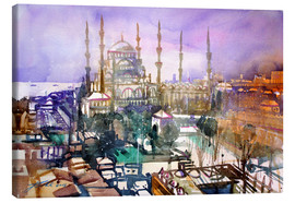 Stampa su tela  Istanbul, view to the blue mosque - Johann Pickl