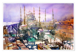 Poster Premium Istanbul, view to the blue mosque