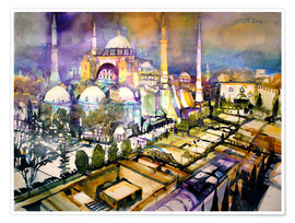 Poster Premium  Istanbul, view to the Hagia Sophia mosque - Johann Pickl