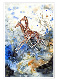 Poster  Golden Childhood. Playing Giraffe babies - Zaira Dzhaubaeva