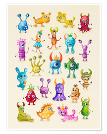 Poster Premium Illustration of colorful monsters
