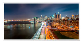 Poster Premium New York Panorama Night Skyline