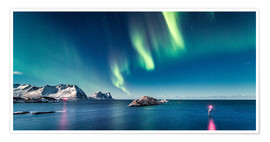Poster Premium Aurora Borealis over the ocean in Northern Norway