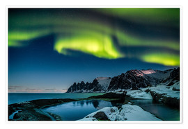 Poster  Aurora Borealis above the island of Senja (Northern Norway) - Sascha Kilmer