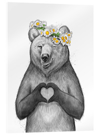 Stampa su vetro acrilico  Girl bear with heart - Nikita Korenkov