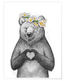 Poster Premium  Girl bear with heart - Nikita Korenkov