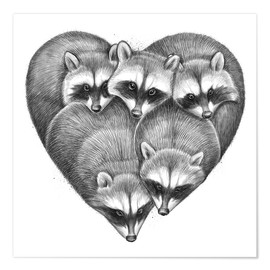 Poster  Heart from raccoons - Nikita Korenkov
