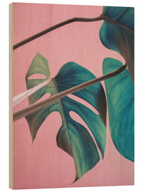 Legno  Sweet pink monstera leaves - Emanuela Carratoni