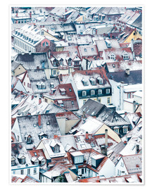 Poster Premium  Snowy rooftops in the old town of Heidelberg - Jan Christopher Becke