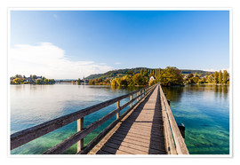 Poster Premium Bridge to the monastery Werd on Lake Constance in Switzerland