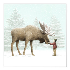 Poster Premium  Winter Moose - Eric Fan