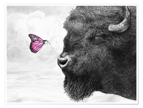 Poster Premium Bison And Butterfly