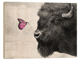 Stampa su legno  Bison And Butterfly - Eric Fan