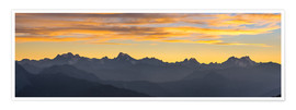 Poster Premium The Alps at sunset, ultra wide panoramic view