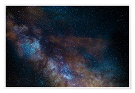 Poster Premium The Milky Way galaxy, details of the colorful core.