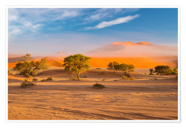 Poster Premium  Morning mist over sand dunes and Acacia trees at Sossusvlei, Namibia - Fabio Lamanna