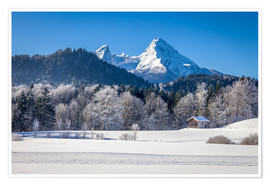 Poster Premium Snowy mountains in Upper Bavaria