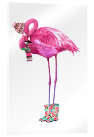 Vetro acrilico  Pink flamingo with rubber boots - Kidz Collection