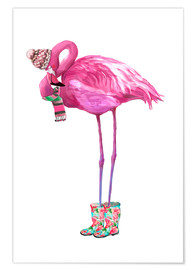 Poster Premium  Pink flamingo with rubber boots - Kidz Collection