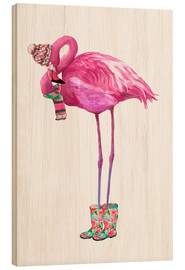 Stampa su legno  Pink flamingo with rubber boots - Kidz Collection