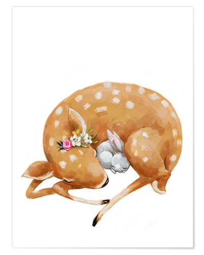 Poster Fawn and baby bunny