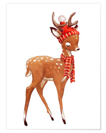 Kidz Collection - Winter deer with scarf and hat