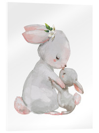Vetro acrilico  Cute white bunnies - mother with child - Kidz Collection