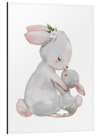 Alluminio Dibond  Cute white bunnies - mother with child - Kidz Collection