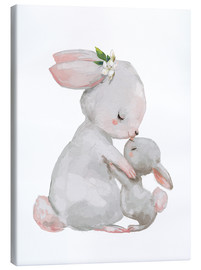 Tela  Cute white bunnies - mother with child - Kidz Collection