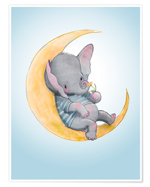 Poster Premium  Elefante sulla luna - Kidz Collection