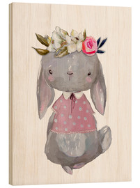 Stampa su legno  Summer bunny with flowers in her hair - Kidz Collection