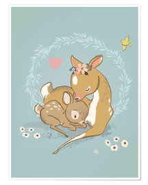 Poster  Fawn mother and child - Kidz Collection