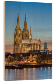 Stampa su legno  The Cologne Cathedral in the evening - Michael Valjak