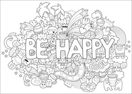 Poster da colorare  Be happy