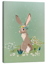 Stampa su tela  Rabbit with wildflowers - Kidz Collection