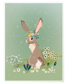 Poster Rabbit with wildflowers