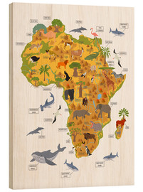 Stampa su legno  Animali africani (inglese) - Kidz Collection