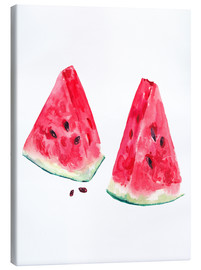 Stampa su tela  watercolor slices of watermelon
