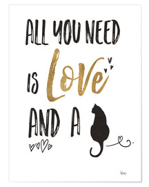 Poster Premium  All you need is love and a cat - Veronique Charron
