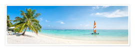 Poster Maldives beach panorama with sailboat