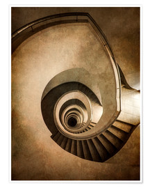 Poster Premium Spiral staircase in brown colors