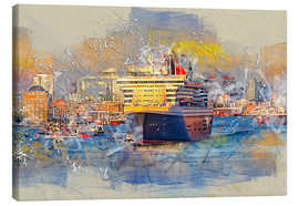 Stampa su tela  Hamburg Queen Mary II, in the background the Elbphilharmonie - Peter Roder