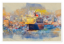 Poster Premium  Hamburg Queen Mary II, in the background the Elbphilharmonie - Peter Roder