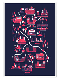 Poster Premium  The Walking Dead Map - Robert Farkas