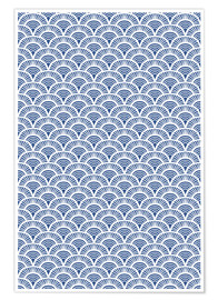 Poster Premium Fish scales pattern in blue