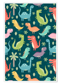 Poster Premium  Colorful dinosaurs - Kidz Collection