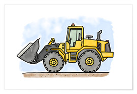 Poster  Hugos wheel loader - Hugos Illustrations
